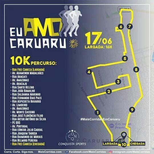 Você que vai correr os 10Km, veja aqui o seu percurso.  1ª Corrida Eu Amo Caruaru Caminhada: 5km/ Corrida: 5 e 10Km. Quando: 17/06/17 (sábado) Largada às 16hs. Onde: Antiga Estação Ferroviária, Caruaru/PE.  MAIS INFORMAÇÕES/ ORGANIZADOR Conquista Sports E-mail: conquista.sports@outlook.com Telefone: (81)99695.4815 (Mel)  #MaisCorridas    #MaisCorridasCom    #MaisCorridasComBR #EuCurtoMaisCorridas    #SouMaisCorridas    #VemSerMaisCorridas #Corrida   #Corredor   #Caruaru    #EuAmoCaruaru