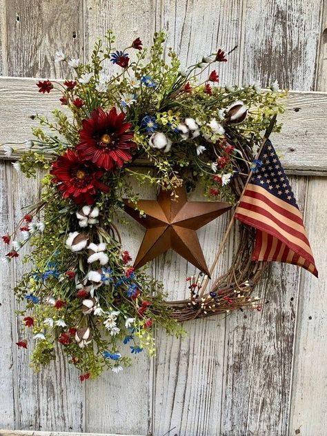 Patriotic wreath, 4th of July wreath, Fourth of July decor, Fourth of July wreath for front door, Americana wreath, American Flag wreath