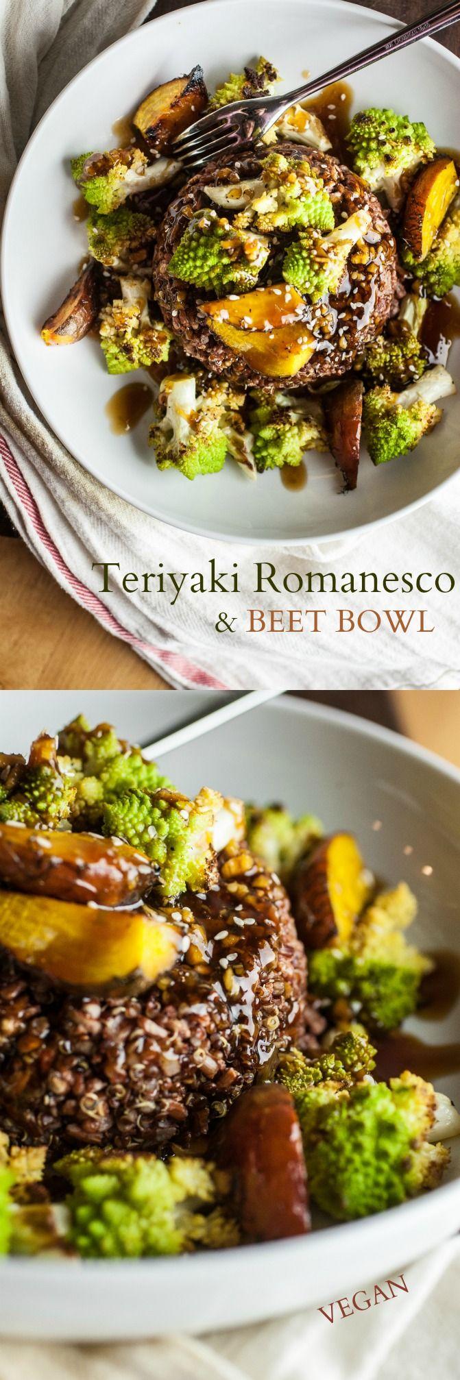 Teriyaki Romanesco und Beet Bowl - geröstete Romanesco und süßen Rüben Barsch auf einem Bett aus Reis, mit einem köstlichen Teriyaki Glasur genieselt.  Es ist süß und salzig, und im Notfall durchgeführt.