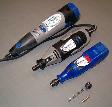 A variable speed Dremel tool (Multi Pro), a Mini Mite and a Cordless Lithium model.