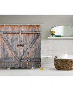 Rustic Shower Curtain American Country Style Print For Bathroom