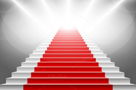 Stairs covered with red carpet. by Rommeo79 on @creativemarket