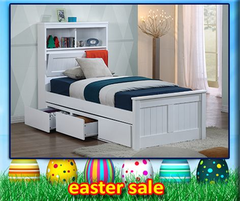 Botany bed frame features handy pull down storage in the bed head as well as plenty of space for night lights, books and trinkets. Single and King Single