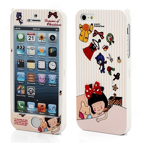 Wholesale Snap-on Happymori iPhone 5 Front and Back Case Cover - Happy Christmas - iPhone 5 Hard Cases