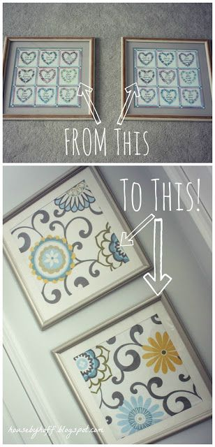 Love the fabric in the lower frame set  From Goodwill Frames to Beautiful Fabric Art! Tutorial