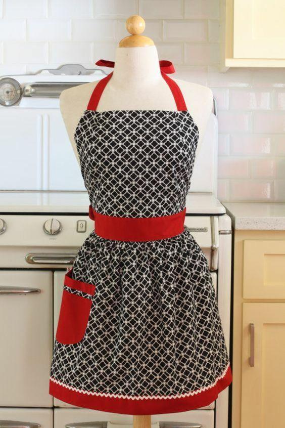 DIY Kochschürze mit Retro Look rote Details