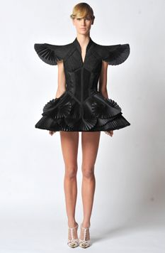 Giovanni Bedin for Worth Couture S/S 2012 Black Wing Shoulder Dress