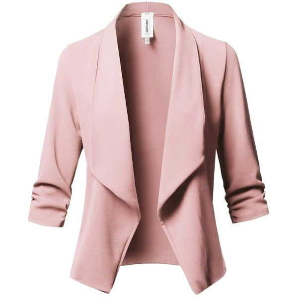 Awesome21 Women Solid Stretch 3/4 Gathered Sleeve Open Blazer Jacket... ($25) ❤ liked on Polyvore featuring outerwear, jackets, blazers, pink jacket, stretch blazer, pink blazer, blazer jacket and pink blazer jacket