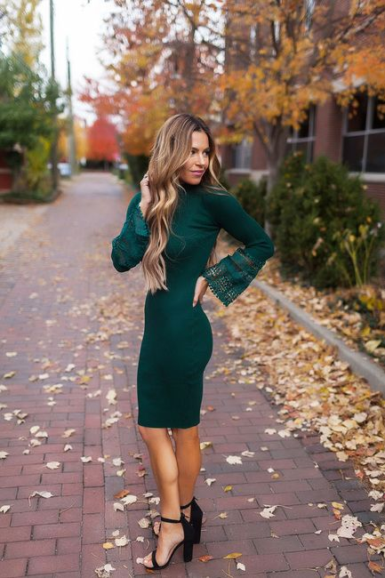 Emerald Crochet Sleeve Fitted Dress