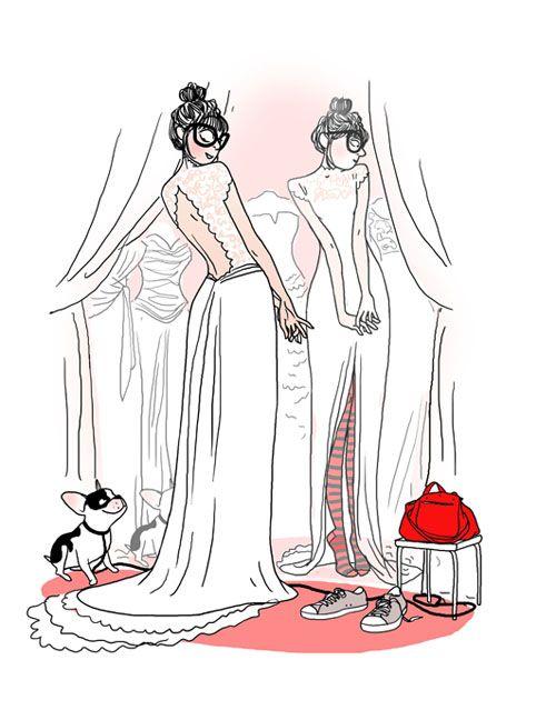 illustration réalisée pour la magazine Elle sur les robes de mariées