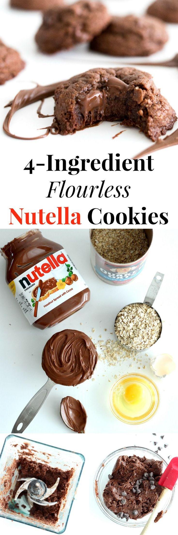 4-Ingredient Flourless Nutella Cookies | The BakerMama