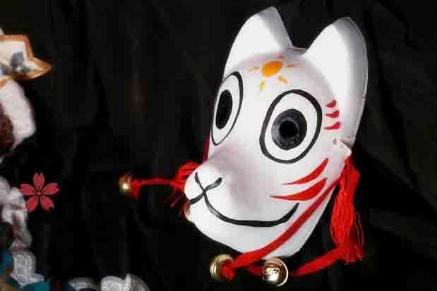 Peint à la main Full Face japonais renard masque démon Kitsune Cosplay mascarade Collection japonais Noh parti carnaval(China (Mainland))