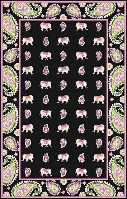 Elephant Area Rugs | Marcella Vera Bradley Pink Elephant Pink VBY038 Area  Rug Clearance