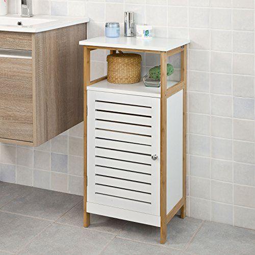SoBuy® Badkommode, Badschrank, Kommode mit Tür, Badezimmer, aus MDF und Bambus, FRG167-WN