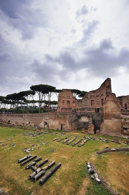 Hippodrome of Domitian, Palatine Hill, Rome. ** I love walking around the ruins in Rome. I visited Palatine Hill when last in Rome in 2003.