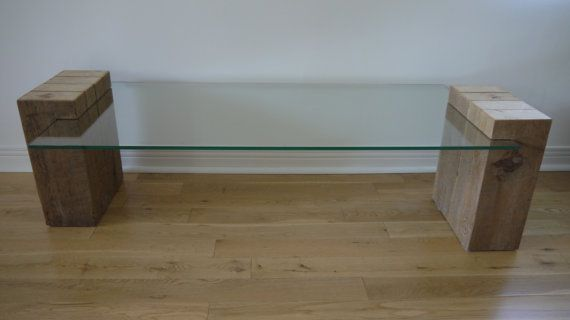 Reclaimed Hout en glazen salontafel. Moderne door TicinoDesign