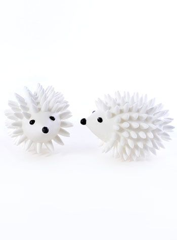 Fluffing Hedgehog Dryer Balls at PLASTICLAND Add a little quirky fun to your laundry room with this silly set of dryer balls. The white hedgehogs remove static and wrinkles from your laundry, freshen up your clothes and cut down on drying time.