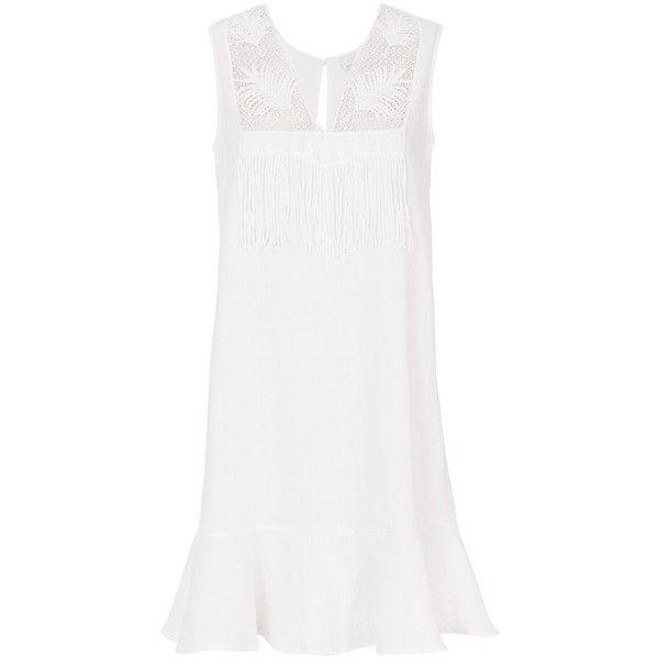 Miguelina Women's Blance Dress (731.900 COP) ❤ liked on Polyvore featuring dresses, white, white flared dress, sleeveless dress, white v neck dress, bib dress and sleeveless flare dress
