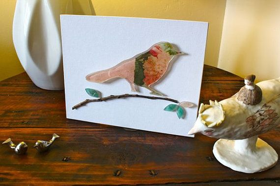 Resin bird backed with beautiful papers by TheFlightyFlamingo