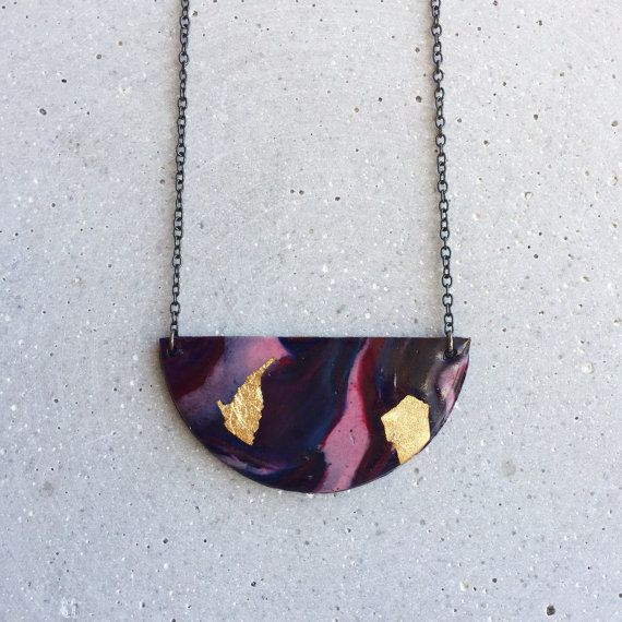 Midnight Marble Necklace by MITCHandMOODI on Etsy