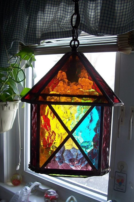 Leaded Lantern Chain Hanging Porch Light Multi Colour