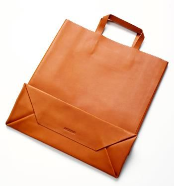 Leather shopping bag, made by the Barcelona-based art and fashion collection Antiatoms