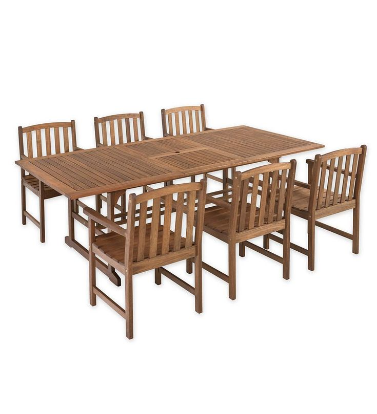 Lancaster Extension Table Set, Extension Table And 6 Chairs   Lancaster  Eucalyptus Outdoor Furniture Returns Part 77