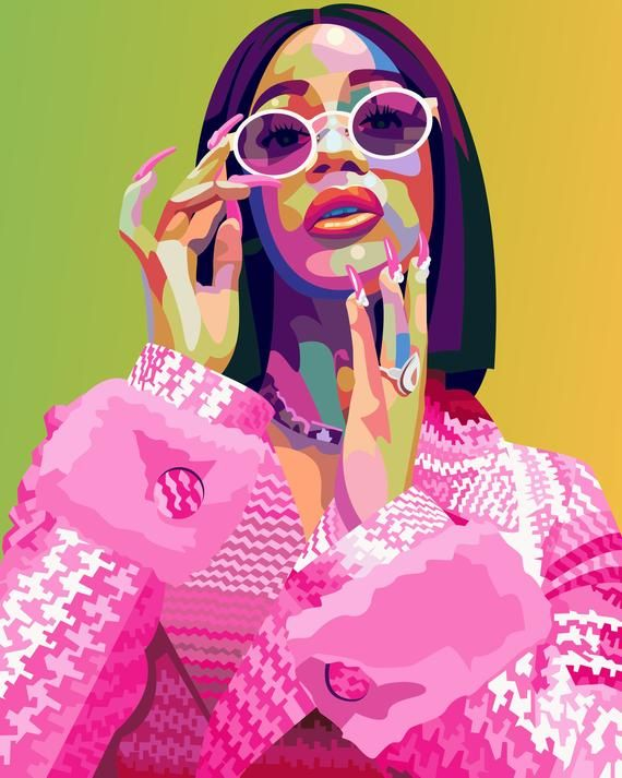 Cardi B Poster Print Pop Art Music Icon Wall Art Home Decor Gifts Desenhos