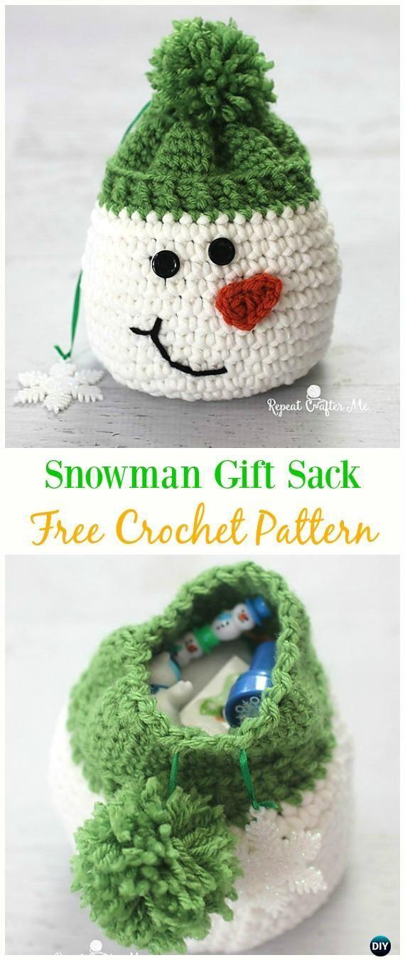 Snowman Gift Sack Bag Free Crochet Pattern -#Crochet Drawstring #Bags Free Patte…
