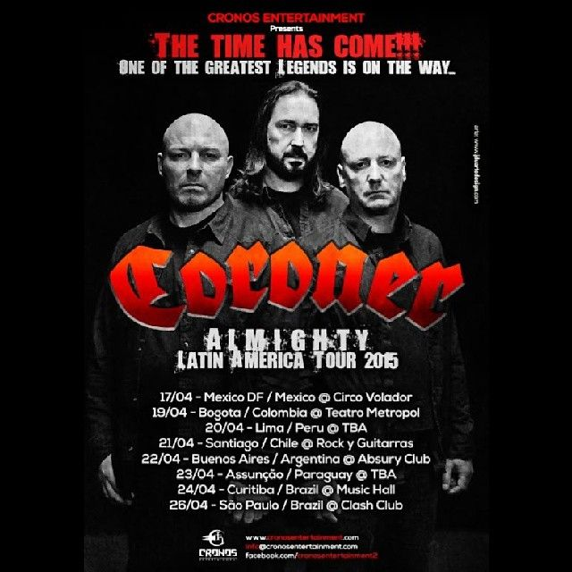 MUSIC EXTREME: CORONER CONFIRMS SOUTH AMERICAN TOUR 2015