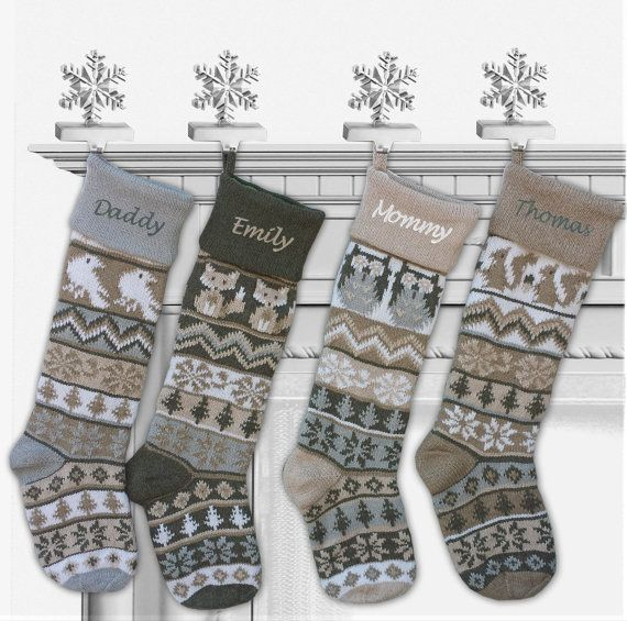 """Personalized Knit Christmas Stockings Large 28"""" White Grey Beige Modern Fair Isle Knit Owl Fox Squirrel Bird Knitted Intarsia Nordic"""