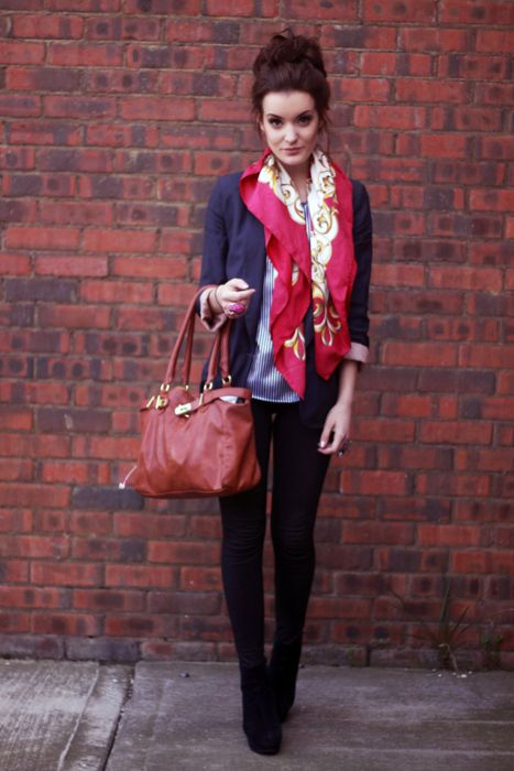 Shop this look for $373:  http://lookastic.com/women/looks/blazer-and-shortsleeve-shirt-and-skinny-jeans-and-ankle-boots-and-shopper-handbag-and-scarf/1861  — Navy Blazer  — White and Navy Vertical Striped Shortsleeve Shirt  — Black Skinny Jeans  — Black Suede Ankle Boots  — Burgundy Leather Tote Bag  — Red Print Silk Scarf