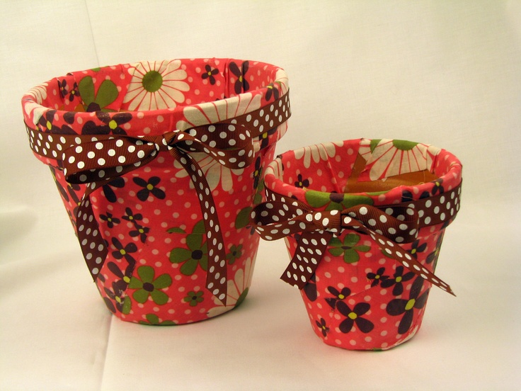 Fabric, mod podge and terracotta pots! By Lesa Richins at Bennion Crafts