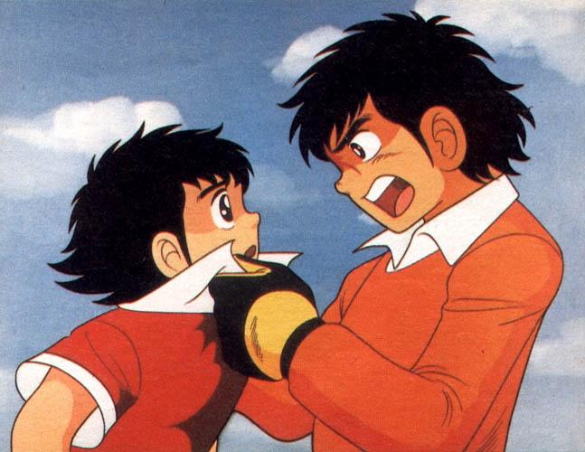 a quién te crees que estás retando mocoso. Campeones: Oliver y Benji / Supercampeones / Captain Tsubasa
