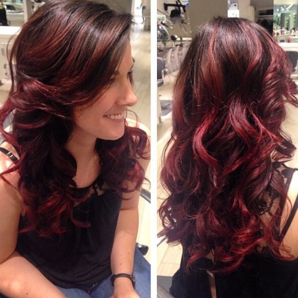 Red hair. Red highlights. Ombré. Balayage. Red ombre.