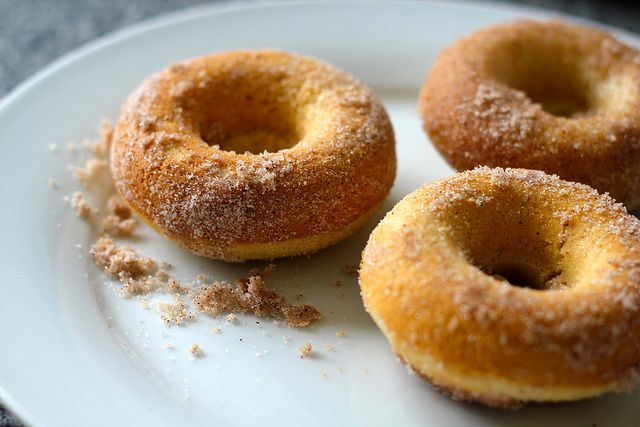 Homemade doughnuts, minus the fryer in zero to doughnut in 20 minutes! Try these dairy free friendly doughnuts in cinnamon sugar or glazed a la Krispy Kremes! from CookingCrusade.com