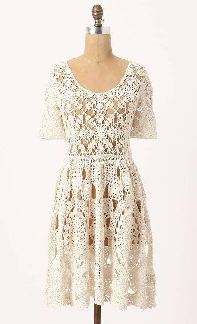 Irish crochet &: CROCHET DRESS ... ПЛАТЬЕ МОТИВАМИ