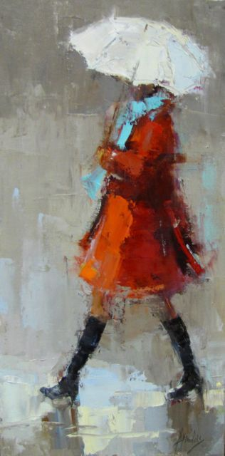 Red Coat, Rainy Day Barbara Flowers