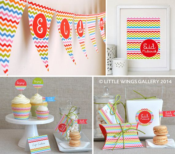 Printable Eid Decorations Pack (Chevron Design: Rainbow), Digital Download