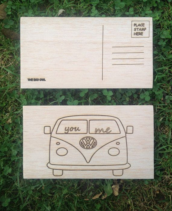 Postcard made from Real Wood - Unique and high quality - Hippie van - VW camper