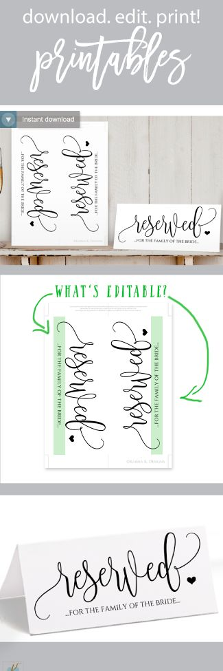 Super Easy Reserved Sign Template - Rustic Calligraphy