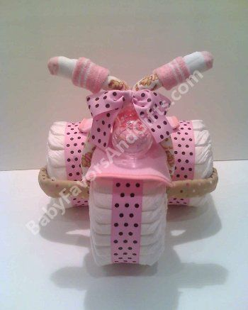 Pink tricycle diaper cake, baby shower gift, centerpiece or table decorations http://babyfavorsandgifts.com/tricycle-diaper-cake-for-girl-p-163.html