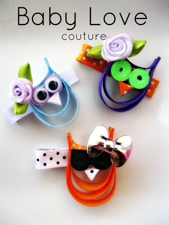 October Owls  Ribbon Sculpture Hair Clippies by babylovescouture, $3.00