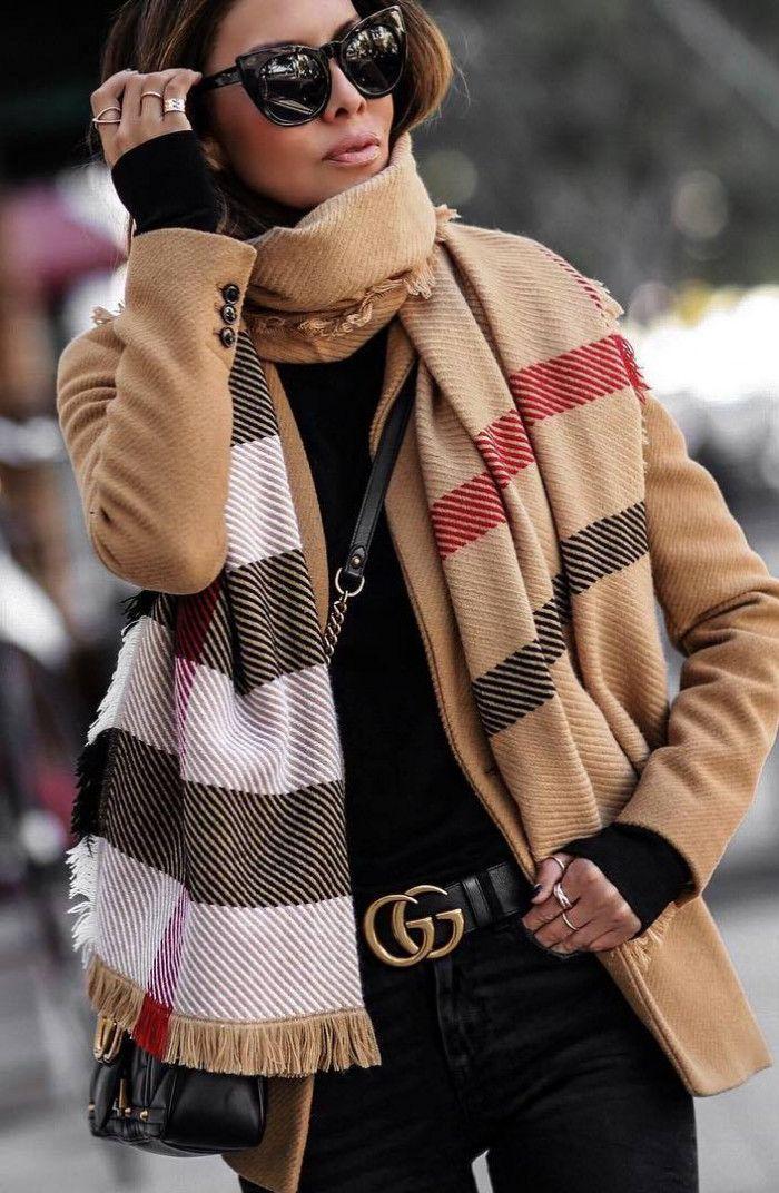 how to wear a plaid scarf : nude blazer   black top   bag   skinnies
