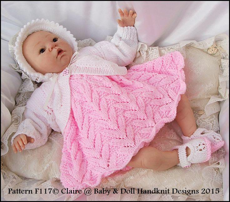 "Flower Motif Dress Set for 15-20"" doll/preemie /0-3m-dress, bolero, cardigan, knitting pattern, baby , doll, reborn, babydoll handknit designs"