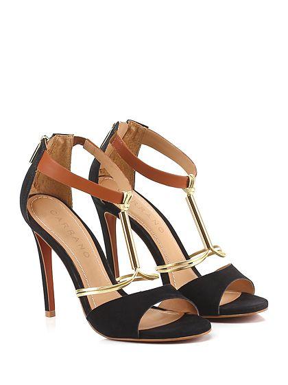 Carrano - Sandalo alto - Donna - Sandalo alto in nabuk e pelle laminata con zip su retro, cinturino alla caviglia ed applicazione metallica frontale. Suola in gomma, tacco 110. - BLACK\GOLD - € 149.00