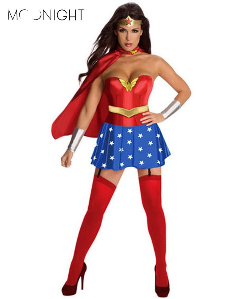 MOONIGHT Super Girl Ladies Wonder Woman Costume Fancy Dress Women Halloween customes blue women supergirl costumes