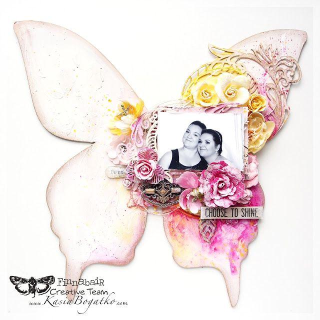 Sisterly Love - mixed media butterfly - Finnabair CT by Kasia Bogatko