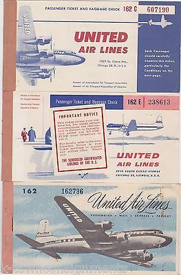 UNITED AIRLINES VINTAGE GRAPHIC ADVERTISING AVIATION AIRPLANE TICKET BOOKS 1