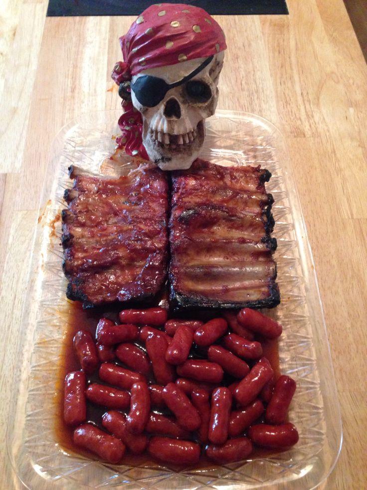 Skeleton rib and guts Halloween main course